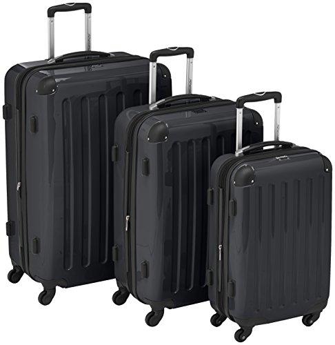 HAUPTSTADTKOFFER - Alex - 3er Koffer-Set Trolley-Set Rollkoffer Reisekoffer Erweiterbar, 4 Rollen, (S, M & L), Schwarz