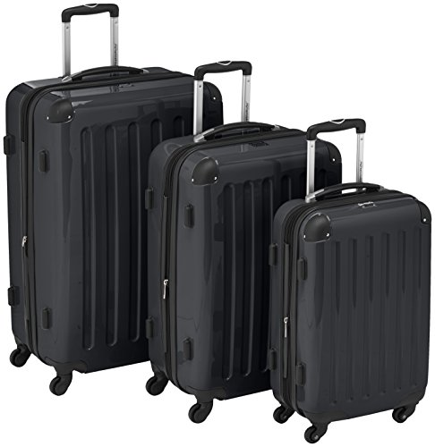 HAUPTSTADTKOFFER - Alex - Set of 3 Hard-side Luggages Trolley Suitces Expandable, (S, M & L), black