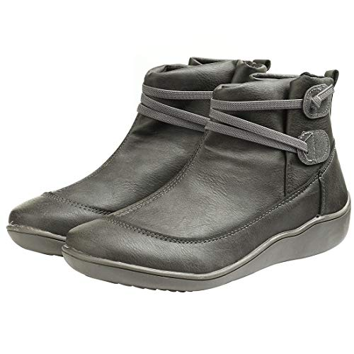 Womens Ankle Boots Waterproof Cofy Lightweight Ankle Boots Stacked Slip On Short Casual Walking Booties (Gray,9.5)