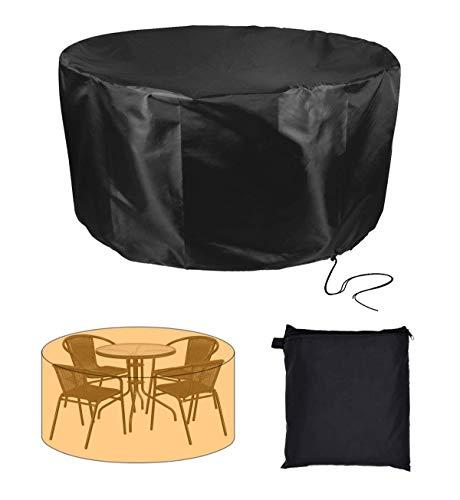 Cubierta de muebles de jardín redonda 420D resistente para mesa de jardín, juego de patio redondo de 4 a 6 plazas, juego de comedor grande, negro (tamaño: 128 x 71 cm)