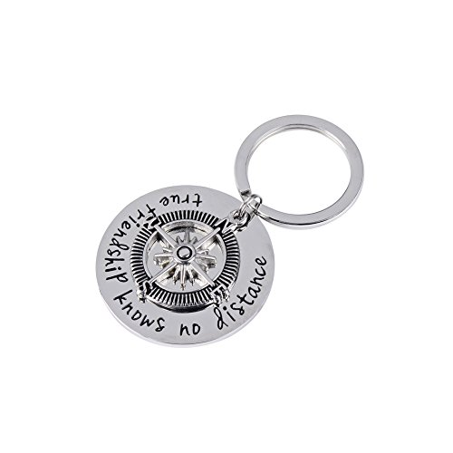 JINGRAYS Best Friend Compass Keychain,True Friendship Knows No Distance Keychain,Long Distance Relationship Gifts Pendant Keychain Key Ring (Retail Gift Package)