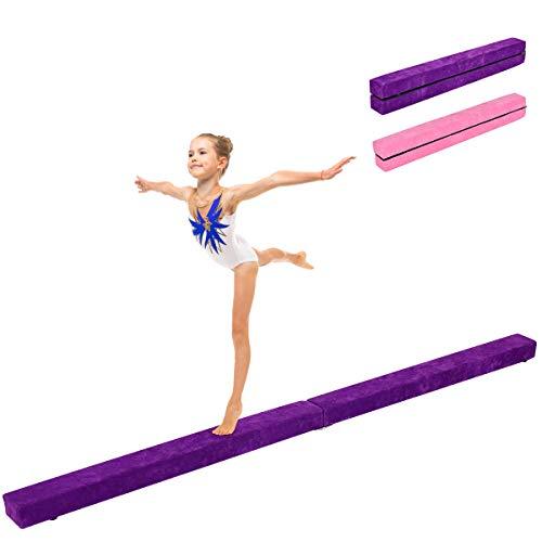 COSTWAY 210 cm Schwebebalken, Gymnastikbalken klappbar, Balance Beam bis 100KG belastbar, Gymnastik Balance Balken für Zuhause Turnen (Lila)