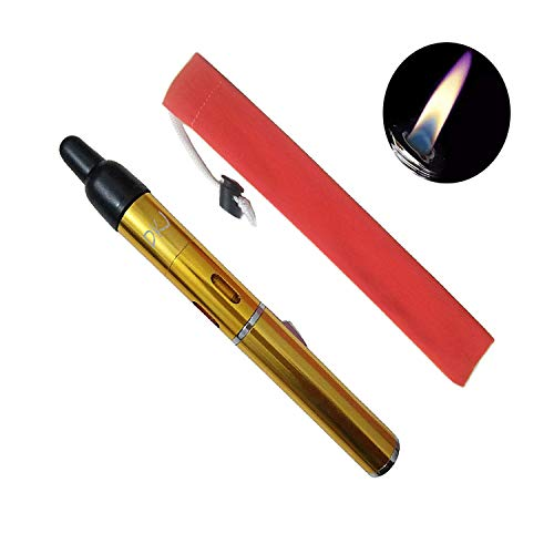 Torch Lighters, Torch Lighter for Dabs FengFang Portable Metal All in One Pipe Built-in Detachable Inflatable Lighter (Gold)