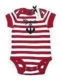 Baby Body Elbiratin Anker - rot weiß gestreift - Fair - Baby, Babystrampler, Babygeschenk, Geschenk zur Geburt von ebbeundflut