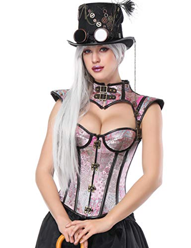 FeelinGirl Damen Gotik Steampunk Korsage Halloween Corsage Karneval Brokatmuster Hochwertig Vintage...