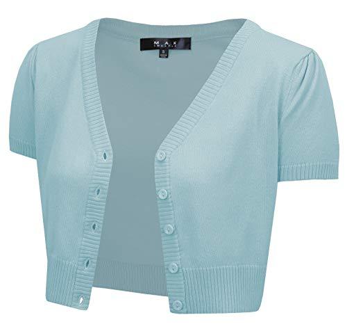 YEMAK Women's Cropped Bolero Short Sleeve Button Down Cardigan Sweater HB2137-L.BLue-2X