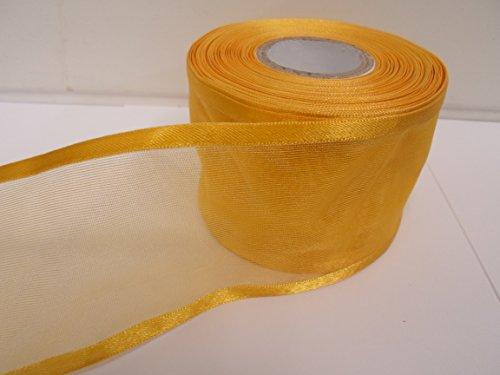 Beautiful Ribbon 1 Rouleau de 70 mm 7cm avivés Ruban Organza x 25 mètres tagète Jaune foncé Double Face Satin Edge Pure 70 mm