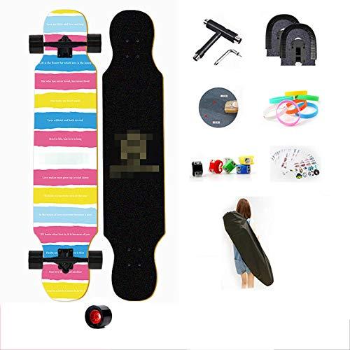 YSCYLY Komplette Skateboards,107cm Longboard Skateboard,Coole Designs FüR Kinder Und Jugendliche