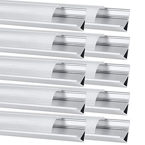 Chesbung LED Aluminium Profil 1m, 10er Pack in V-Form für LED-Strips/Band bis 12 mm) inkl. Abdeckungen in milchig-weiß, Endkappen, und Montagematerial