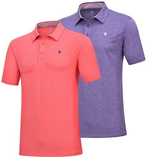 MoFiz Men's Short Sleeve Polo Shirt Dri-Fit Performance Golf Polo T Shirt 2 Pack (S,Orange/Purple)