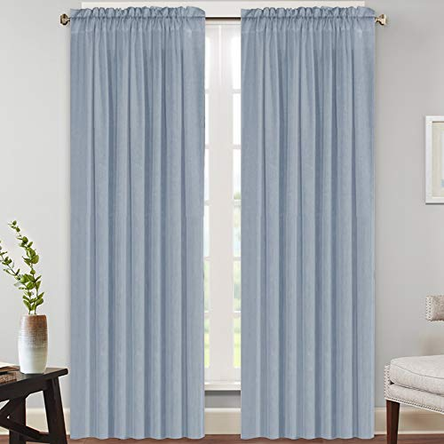 Natural Rich Linen Curtains Semi Sheer for Bedroom/Living Room/Dining   Rod Pocket Textured Flax Window Curtain Drapes Privacy Added Light Reducing Soft Curtains 2 Panels (Stone Blue, 52\' W x 9