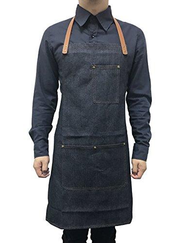 FEOYA Unisex Schürze Ärmellos Denim Damen Kochschürze Herren Grillschürze Küchenschürze mit Tasche Schürze für Restaurant Hotel Mann Gartenschürze Größe 72x54 - Blau