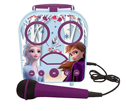 Lexibook BTC050FZ Frozen 2, Anna & ELSA, Mijn geheime draagbare luidspreker met microfoon, karaoke-functie, aux-in-aansluiting, kaartensleuf voor geheugenkaart, blauw