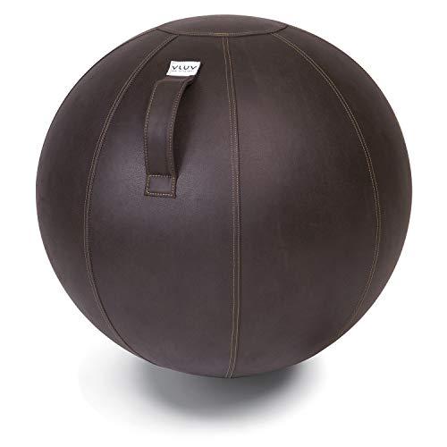VLUV VEEL Sitzball, ergonomisches Sitzmöbel für Büro und Zuhause, Farbe: Mokka (Dunkelbraun), Ø 60cm - 65cm, Bezug aus Mikrofaser-Kunstleder, robust und formstabil, mit Tragegriff