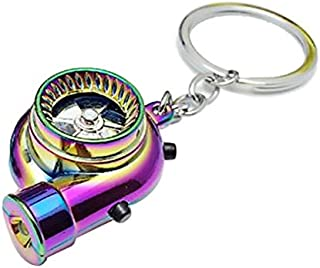 Rechargeable Electric Turbo Lighter key-ring key chain with LED light and BOV sound for Car Speed Racing Lovers-magic color