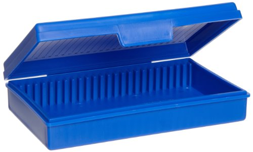 Heathrow Scientific HD15990A Economy - Caja para portaobjetos (polipropileno, capacidad: 25 portaobjetos, longitud x anchura x altura: 141 mm x 92 mm x 30 mm), color azul