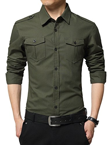 XTAPAN Men's Long Sleeve Casual Slim Fit Button Down Dress Shirt with Two Pockets Army Green 2XL 6620