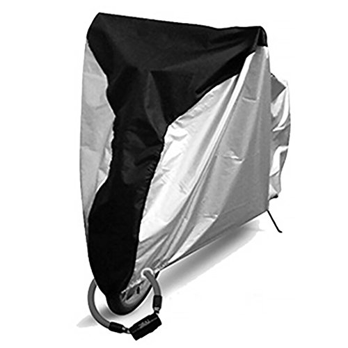 ORETG45 - Funda para bicicleta al aire libre, impermeable, 20/24/26 pulgadas, impermeable, antipolvo, lluvia, protección UV, para almacenamiento exterior, cubierta plegable para bicicleta, No nulo, Negro medio y plateado., Medium