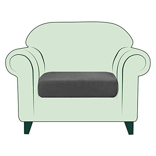 CHUN YI 1 Stück Sofa Sitzkissenbezug Stretch Sitzkissenschutz Elastischer Husse Überzug für Sofa Sitzkissen rutschfest Stoff Möbelschutz(1-Sitzer, Grau)