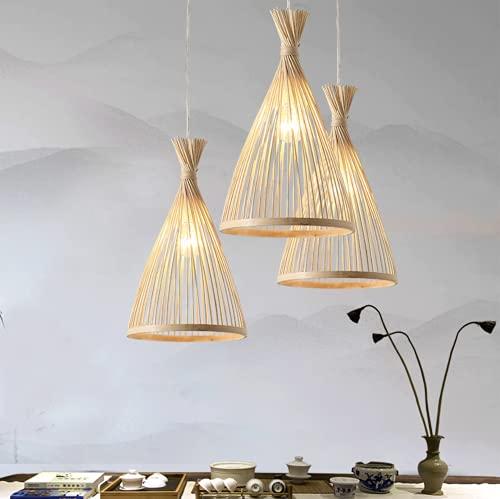 Suspension en bambou abat-jour créatif plafonnier lustre plafonnier pour salle à manger, salon, chambre à coucher, café, comptoir de bar