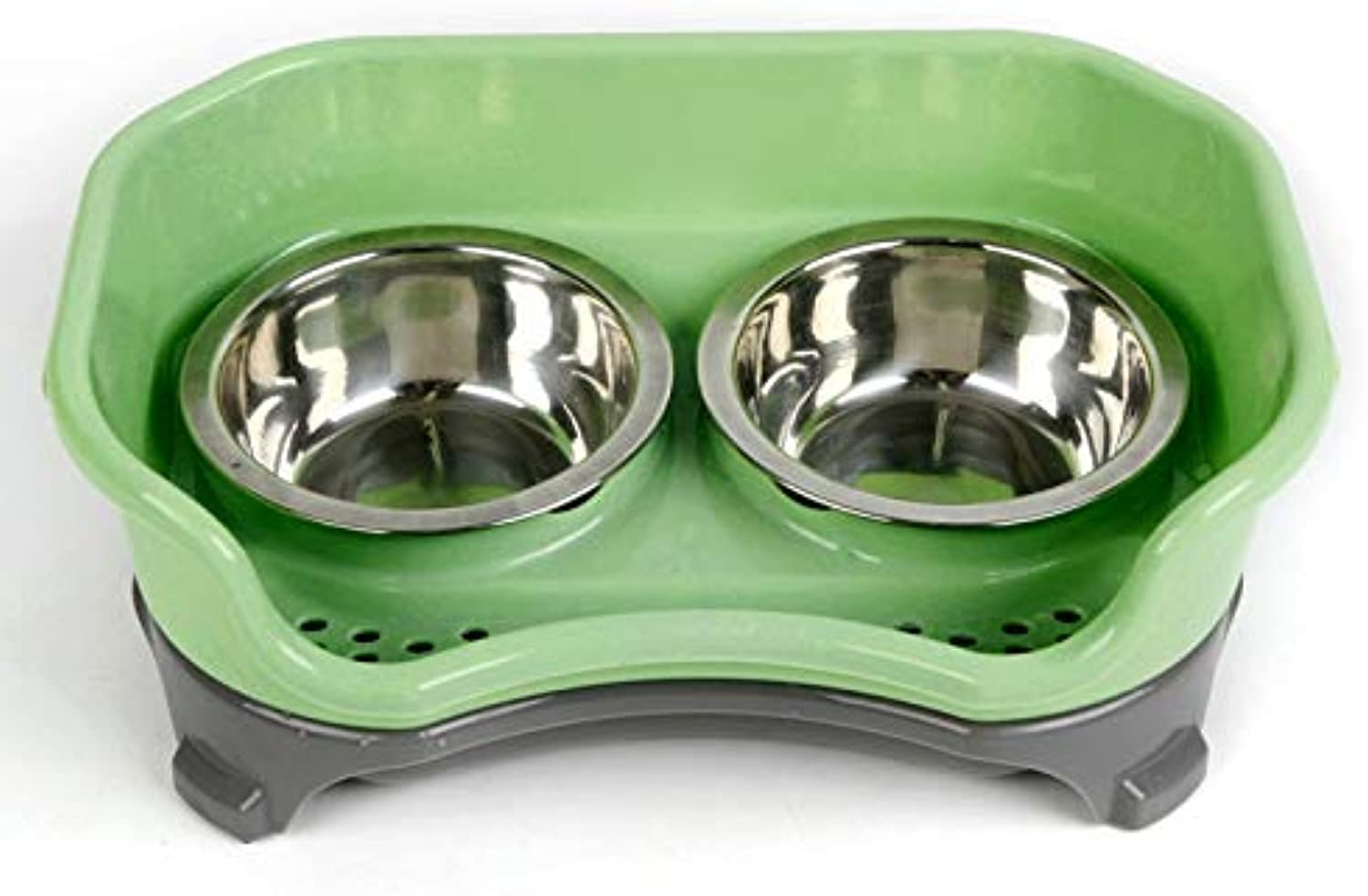 32.5X22x12cm Pet Stainless Steel AntiDrop Double Bowl Higher Splash Proof Baffle AntiSliding Dog Dishes for Pet Dog Cat Feed,Green