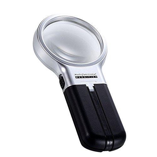 Plegable 3x aumentos, lentes de cristal, skitic plegable manos libres iluminado lupa con lámpara de luz LED portátil de mano lupa lente ajustable soporte para lectura manualidades y pasatiempos