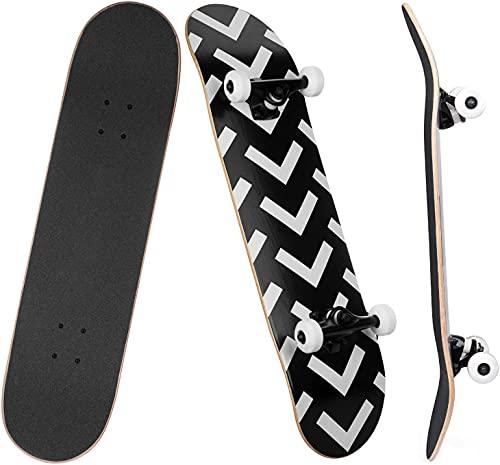SKILEC Skateboard Completo, Monopatín para Adolescentes Niñas Niños Adultos Principiantes Tabla de Skateboard Madera de Arce con rodamientos ABEC-7 para Niños Niñas Adolescentes Adultos (Flechas)