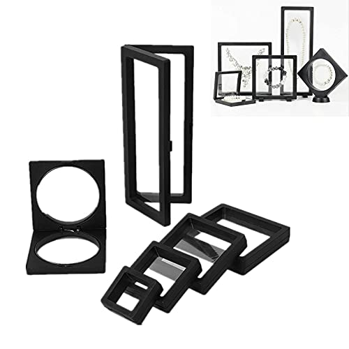 6 unids Transparente 3D Frame Frame Soporte de pantalla / Caja / Marcos, PE Película Joyería Caja de almacenamiento Transparente Joyería Estante de almacenamiento para anillo Collar Pulsera Pendiente