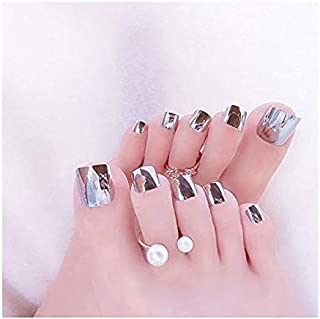 VIKSON INTERNATIONAL 1 Set 24pcs Mirror Shine Chrome Silver Artificial False Toe Nails Tips for Nail Art Decorations Foot Manicure Beauty Tools Mirror Silver Fake Nails for toe