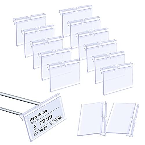 HONMOK 70 Stück Etikettenhalter Preisschildhalter Transparent Klare Etikettenhalter Etikettenträger zur Klassifizierung aus Kunststoff für Supermärkte Einzelhandelsgeschäfte 6x4.4cm