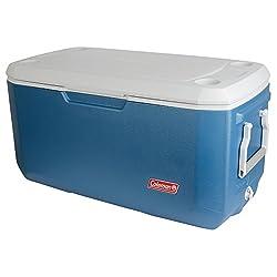 professional Coleman 120 quart cooler, blue