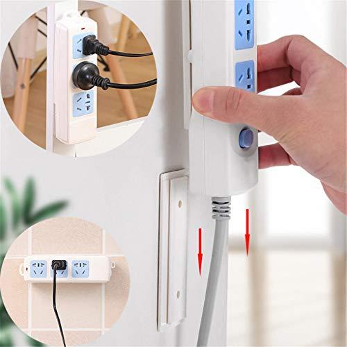 Keuken Organisatie en Opslag Manden Planken Naadloze Sticker Houder Muur Fixer Power Strip Houders Wit voor Sockets Socket Opladen Plank Stand Gereedschap, Wit