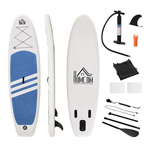HOMCOM Tabla de Paddle Surf Hinchable con Remo Ajustable Almohadilla Antideslizante y Accesorios Completos Carga Máx. 120 kg 305x80x15 cm Azul Blanco