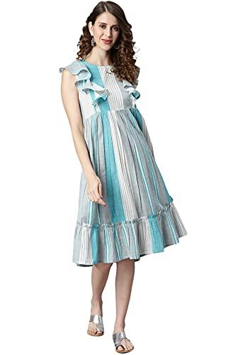 Janasya Women's Grey Cotton Slub Western Dress