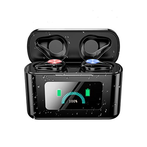 [Bluetooth 5.0 pantalla LCD de reproducción continua de 260 horas] Auriculares inalámbricos Bluetooth 4000 mAh con funda de carga Hi-Fi AAC compatible con IPX7/Siri iPhone