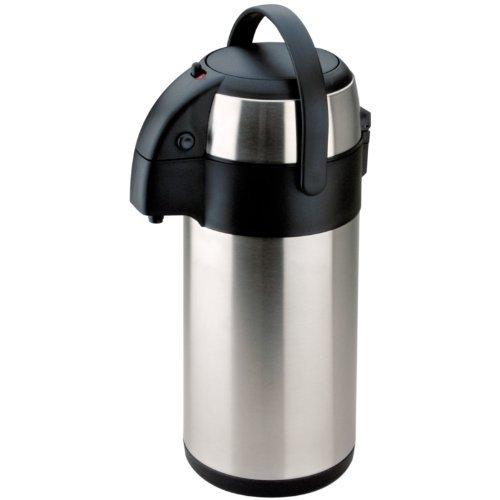 Tips© Thermoskanne mit Ausgusspumpe, aus Edelstahl, für heiße und kalte Getränke geeignet, erhältlich mit 2,5, 3, 3,5, 4, 5l Kapazität, silber, 3 l