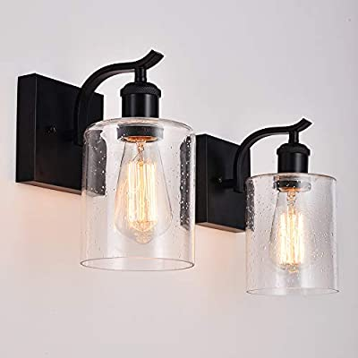 Cuaulans 2 Pack Industrial Wall Lamp Sconce Lights, Bubble Glass Shade Black Wall Sconce Lighting Fixture for Bathroom Bedroom Hallway