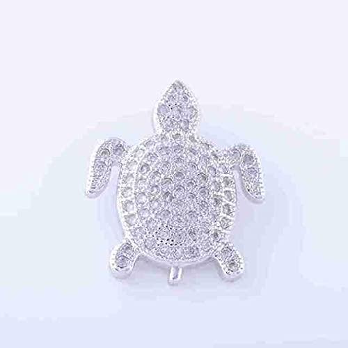 YANGYUE Metal de Cobre con Diamantes de imitación de circonita Oro Rosa Dorado diseño de Tortuga Marina Colgante Hombres Mujeres fabricación de Joyas