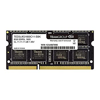 TEAMGROUP Elite DDR3L 8GB Single 1600MHz PC3-12800 CL11 Unbuffered Non-ECC 1.35V SODIMM 204-Pin Laptop Notebook PC Computer Memory Module Ram Upgrade - TED3L8G1600C11-S01