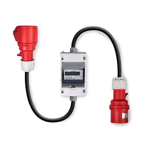 Swissnox 32A MID geeicht - Digital Stromzähler Zwischenstecker Box 400V / 32A CEE-Stecker Und Kupplung (PCE). Wattmeter Energiezähler Zwischenzähler Starkstromzähler. Assembled in Germany 0.5m