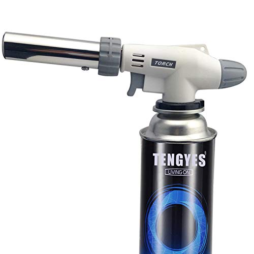 Blow Torch Kitchen Butane Lighter - Culinary Torch Chef Cooking Torch Professional Adjustable Flame with 360 Degree Inverted for Creme, Brulee, BBQ, Baking, Jewelry by TENGYES (Butane Not Included)
