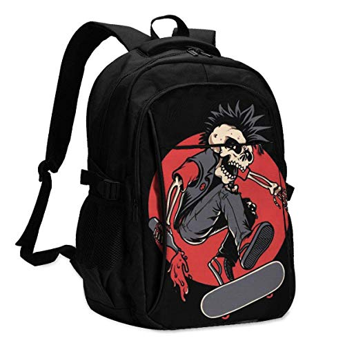 XCNGG Skull Skater Personalized Customization Fashionable with USB Charging Backpacks
