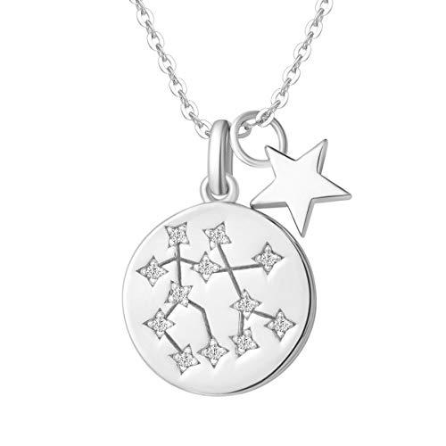 FANCIME Collar con Colgante de Signos del Zodiaco Géminis Horoscopo Collar para Mujer de Plata de Ley 925 Chapada Oro Blanco y Circonita Cúbica - Longitud Cadena: 40 + 5 cm