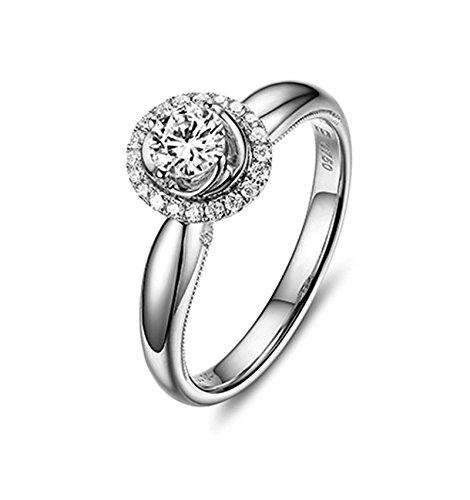 KNSAM - Damen-Ring 18K Gold Verlobugnsringe Echt Diamant Stein 1 Karat H VS Verlobungsringe für Frauen Silber Größe 48 (15.3)