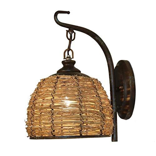 Lampe d'extérieur Vintage Industrielle Applique Murale en Métal Antique Chambre à coucher Applique Murale de Salle à Manger Pays Américain Applique Murale en Fer Forgé Loft Lampe en Rotin [Classe