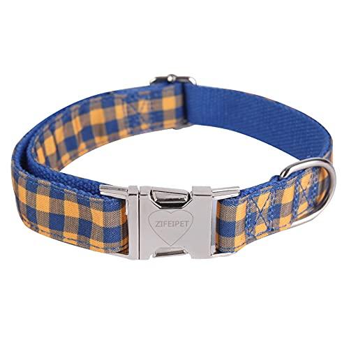 ZIFEIPET Collar suave ajustable a cuadros para perros medianos y grandes.