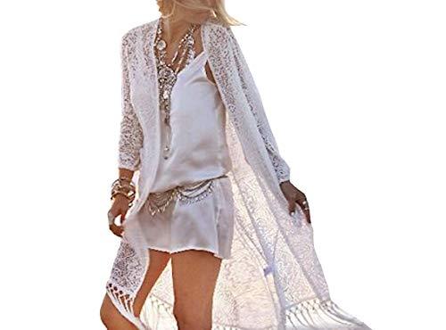 VersusModa COV0021 - Plumero para traje de playa de mujer con encaje Bianco Talla nica