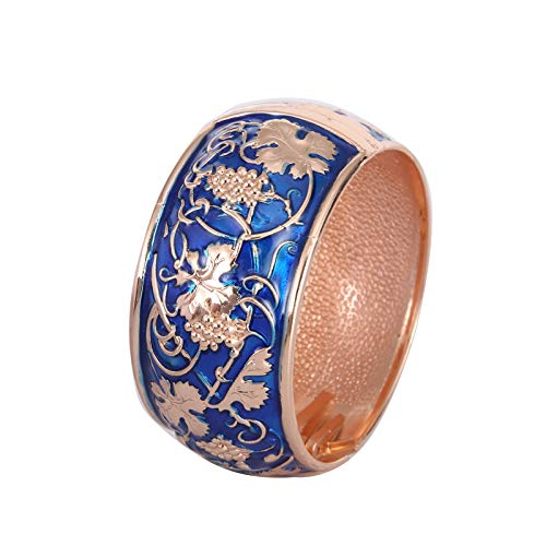 UJOY Enamel Wide Bangle with Gold Trim for Women, Handmade Enamel Wide Bracelet for Lady,Cuff Jewellery Gift