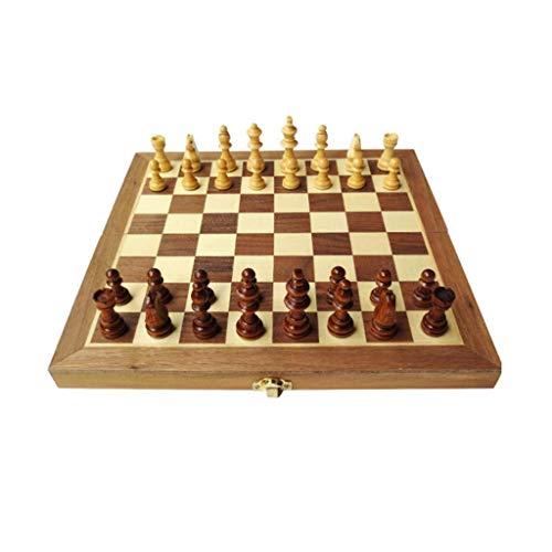 Aocean Juego de ajedrez, Juego de ajedrez para Adultos y niños, Juego de Tablero de ajedrez estándar de Madera Plegable con Piezas de Madera y Ranura de Almacenamiento de Piezas de ajedrez