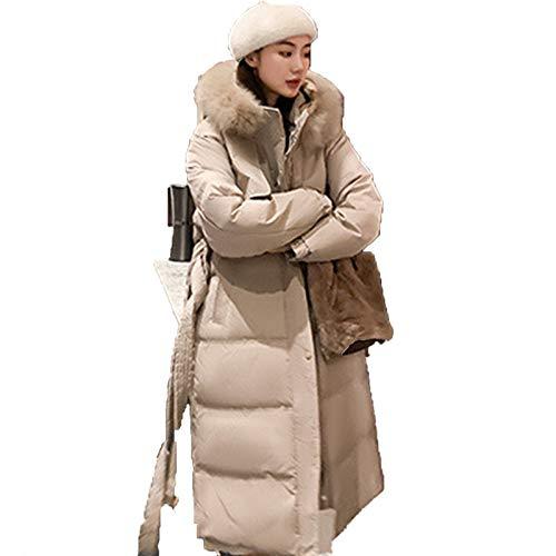 Mujeres Abajo Abrigo Puffer Fur Collar Con Capucha Parka Abrigo Delgado Grueso Acolchado Ropa Exterior Chaquetas, L